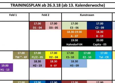 Frühjahrs-Trainingsplan ab 26.3.18