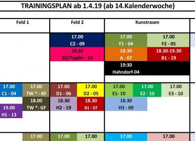 Neuer Trainingsplan ab 1.4.19 ONLINE