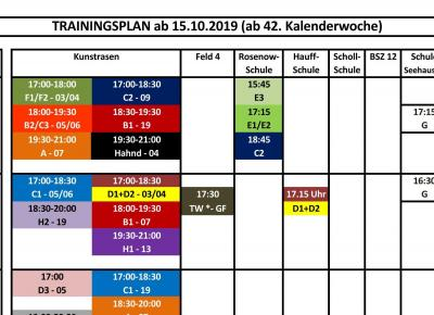 Neuer Trainingsplan ab 15.10.19