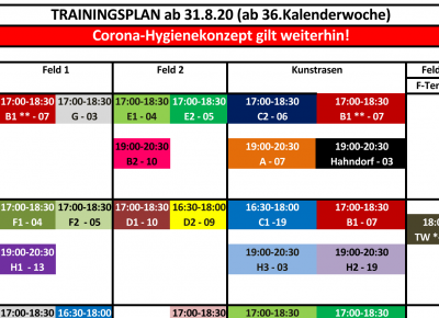 Neuer Trainingsplan ab 31.8.20