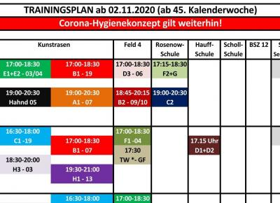 Trainingsplan ab 2.11.2020