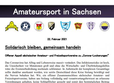 """Als 100.Verein dabei: """"Amateursport in Sachsen"""""""